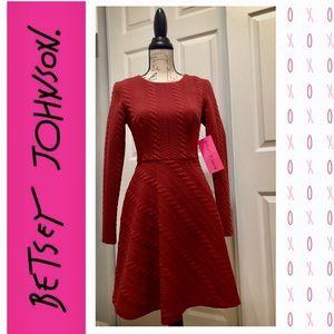 NWT Betsey Johnson Brick Long Sleeved Zip Dress 2